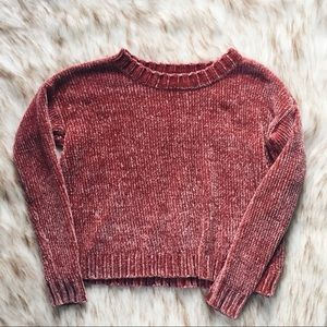 aerie dusty rose chenille sweater